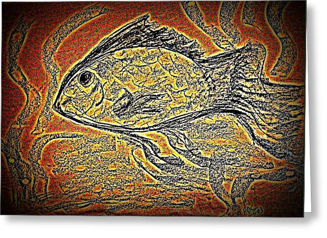Mosaic Goldfish In Charcoal Greeting Card