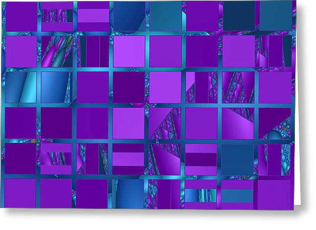 Mosaic In Purple And Teal Greeting Card by Judi Suni Hall