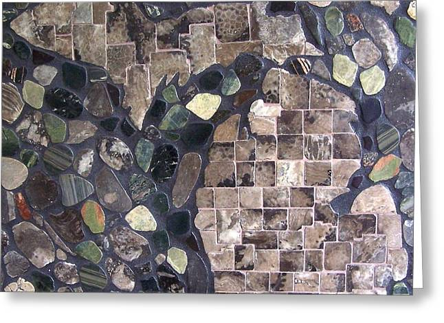 Mosaic Map Of Michigan Greeting Card