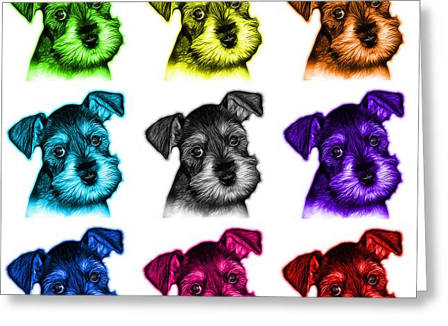 Mosaic Salt And Pepper Schnauzer Puppy 7206 F - Wb Greeting Card by James Ahn