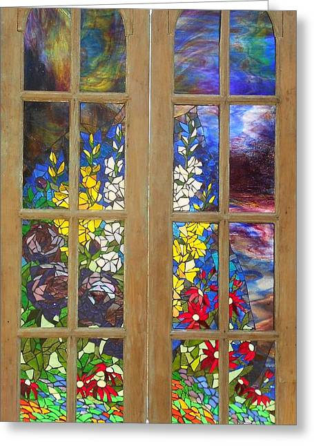 Mosaic Stained Glass - Flower Garden Greeting Card by Catherine Van Der Woerd