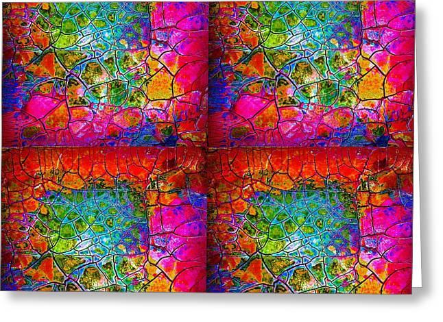 Mosaic Times Four Greeting Card by Carolyn Repka
