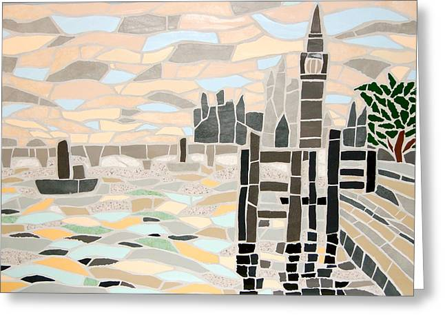 Mosaic View Of The Thames And Big Ben In London Greeting Card