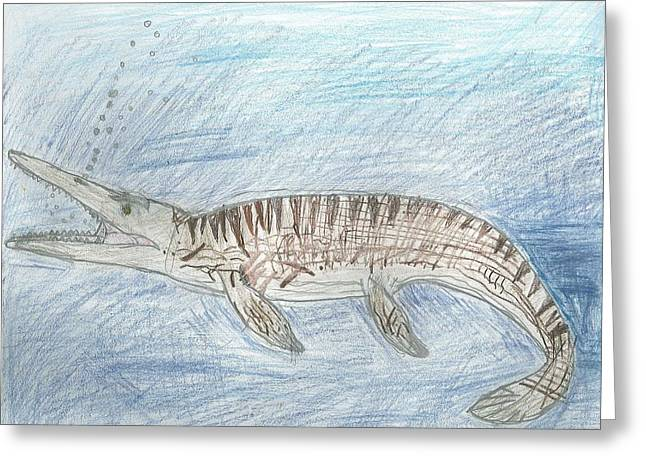 Greeting Card featuring the drawing Mosasaur Hunting by Fred Hanna