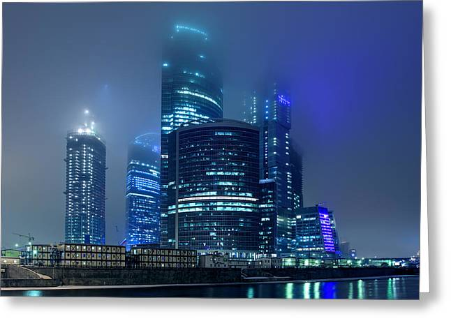 Moscow City In Myst At Night Greeting Card