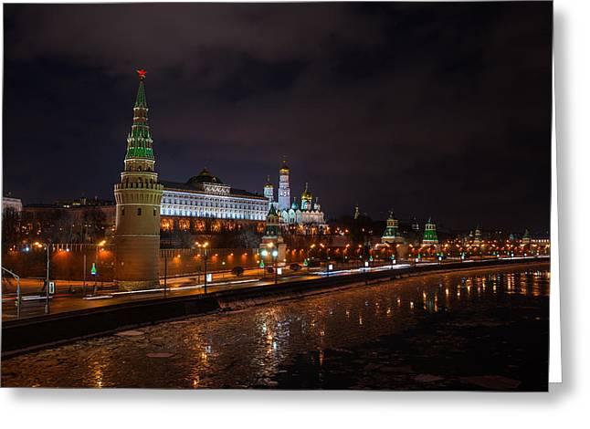 Moscow Kremlin And Kremlin Embankment At Night - Featured 3 Greeting Card