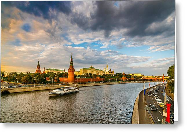 Moscow Kremlin At Sunset - 2 Greeting Card