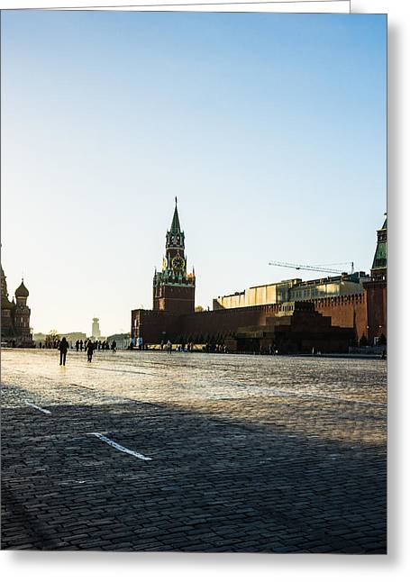 Moscow Red Square From North-west To South-east - Square Greeting Card