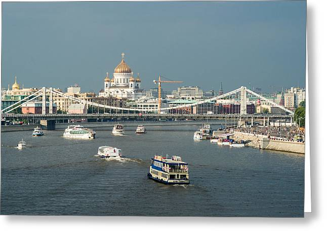 Moscow-river Traffic In Summertime - Featured 3 Greeting Card by Alexander Senin