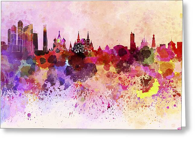 Moscow Skyline In Watercolor Background Greeting Card by Pablo Romero