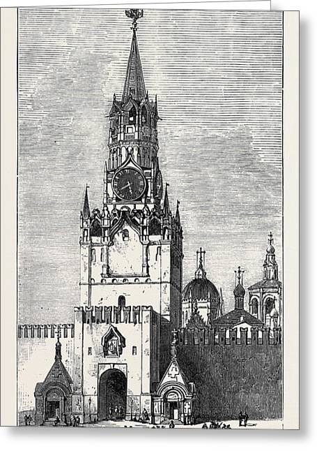 Moscow The Sacred Gate Of The Kremlin Russia 1874 Greeting Card by English School
