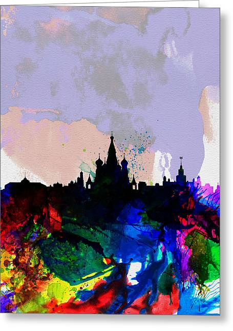 Moscow Watercolor Skyline Greeting Card by Naxart Studio