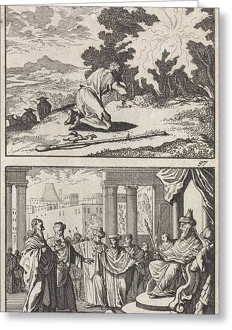 Moses At The Burning Bush, Moses And Aaron Greeting Card by Caspar Luyken And Barent Visscher And Andries Van Damme