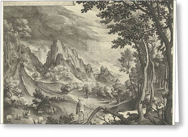 Moses Is Addressed By God On Mount Horeb Greeting Card by Nicolaes De Bruyn