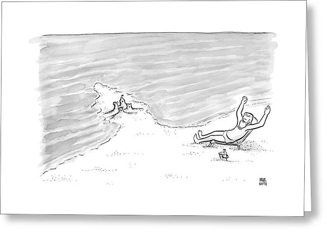 Moses Is Laying On A Beach Chair Parting The Sea Greeting Card