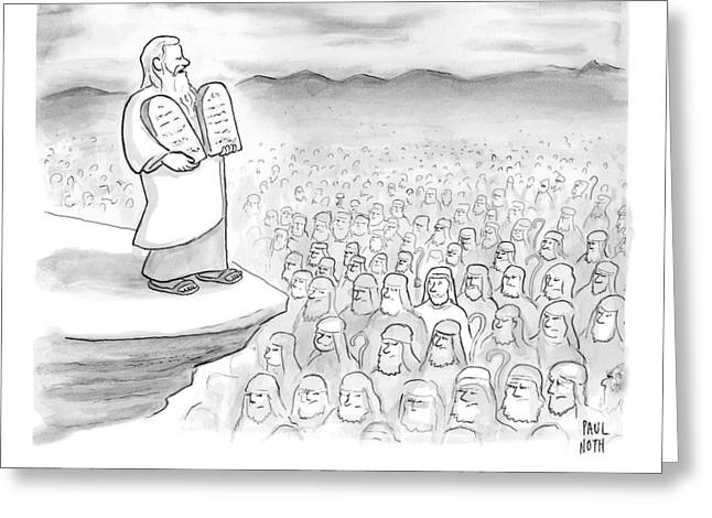 Moses Recites The Ten Commandments To An Audience Greeting Card