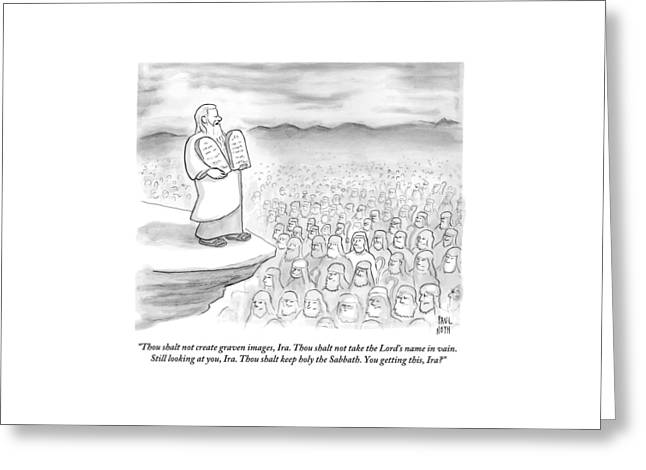 Moses Recites The Ten Commandments To An Audience Greeting Card by Paul Noth