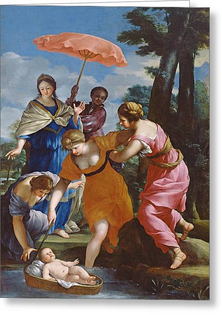 Moses Rescued From The Water Greeting Card by Giovanni Francesco Romanelli
