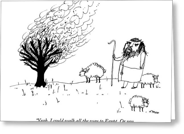Moses Talks To The Burning Bush Greeting Card by Edward Steed