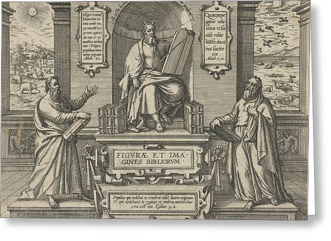 Moses With The Law In The Company Of Two Prophets Greeting Card by Johann Bussemacher