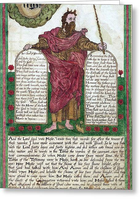 Moses With The Ten Commandments Greeting Card by Folger Shakespeare Library