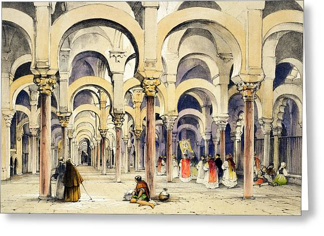 Mosque At Cordoba, From Sketches Greeting Card by John Frederick Lewis
