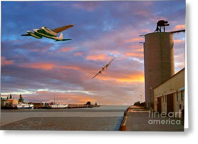 Mosquitoes Over Port Stanley Greeting Card by Tom Straub