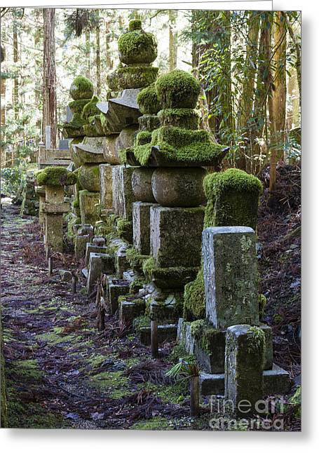 Moss Covered Stone Gravestones Greeting Card