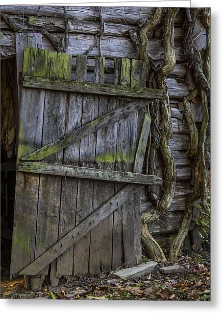 Mossy Barn Door Greeting Card by Amber Kresge