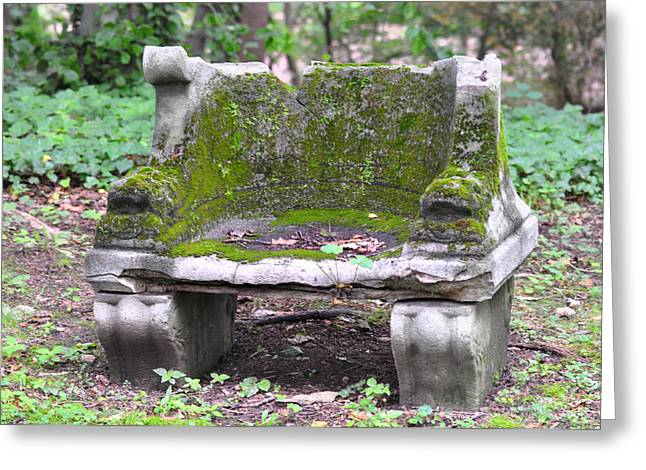 Mossy Stone Bench Greeting Card