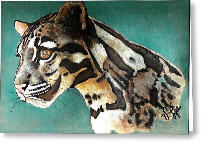 Greeting Card featuring the painting Most Elegant Leopard by VLee Watson