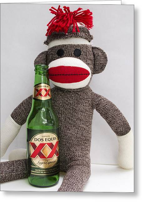 Most Interesting Sock Monkey In The World Greeting Card by William Patrick