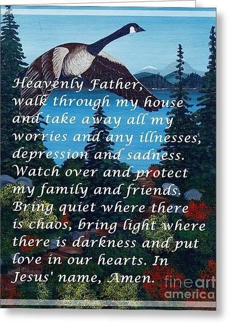 Most Powerful Prayer With Goose Flying And Autumn Scene Greeting Card by Barbara Griffin