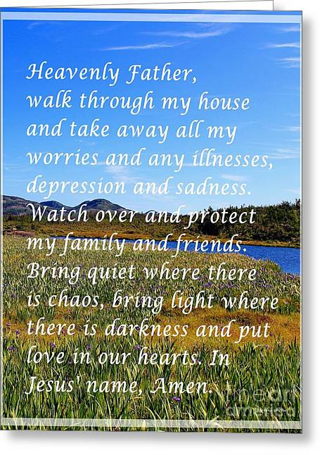 Most Powerful Prayer With Irises Greeting Card by Barbara Griffin