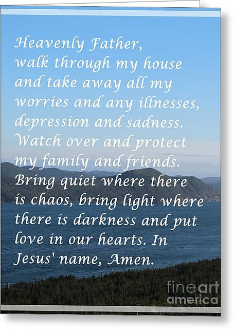 Most Powerful Prayer With Ocean View Greeting Card by Barbara Griffin