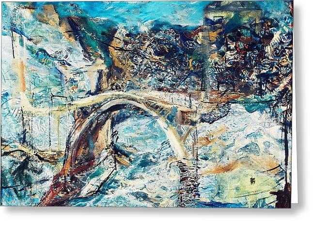 Mostar Bridge Greeting Card by Jelena Ignjatovic