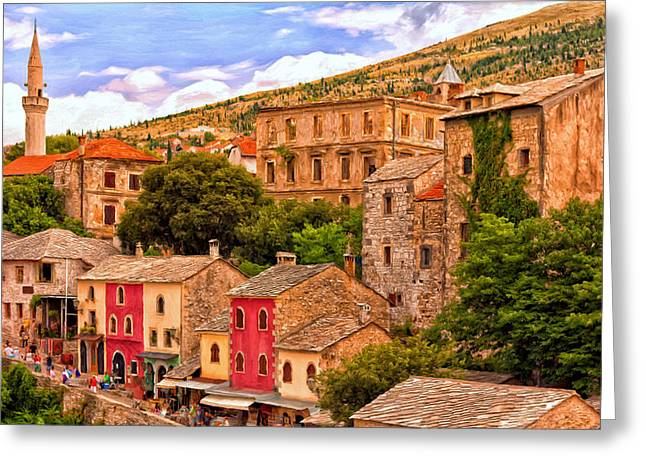 Mostar Greeting Card by Michael Pickett