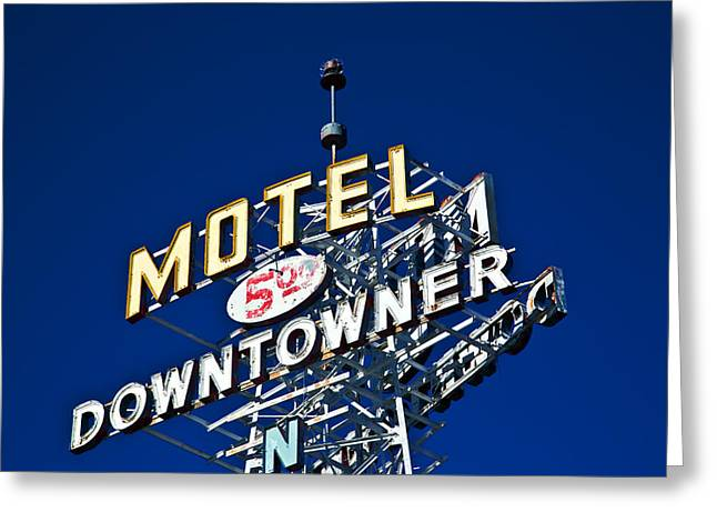 Motel Downtowner Greeting Card
