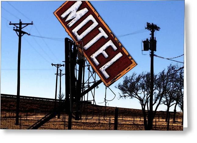 Motel - Route 66 Greeting Card by David Blank