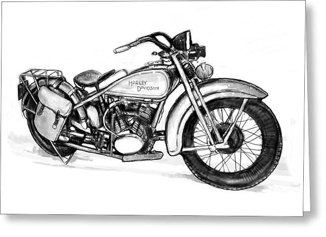 Motercycle  Drawing Art Sketch - 1 Greeting Card by Kim Wang