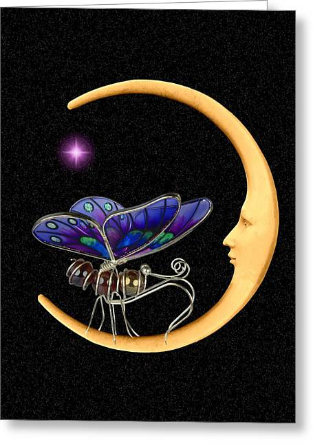 Moth On Moon Greeting Card