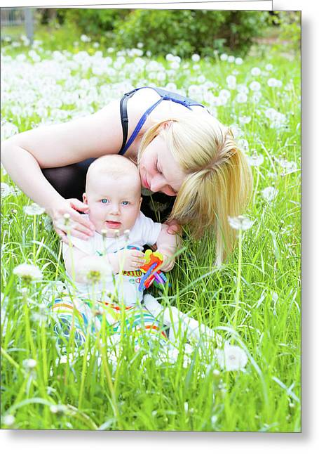 Mother And Baby Boy Greeting Card by Wladimir Bulgar