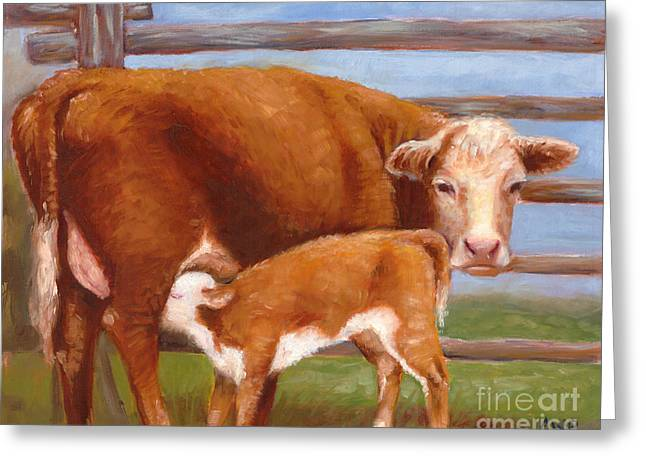 Mother And Baby Cow Greeting Card