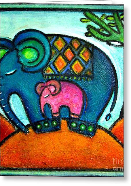 Mother And Baby Elephant One Footstep For Two Greeting Card