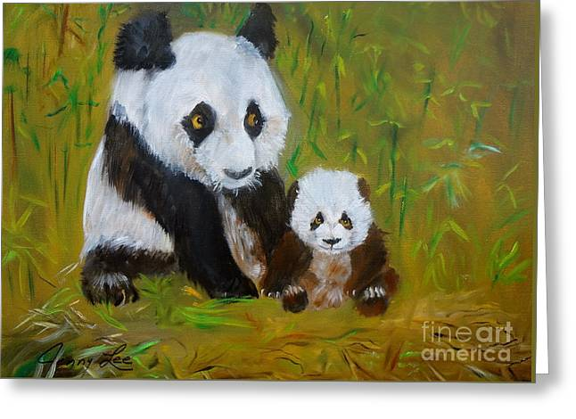 Greeting Card featuring the painting Mother And Baby Panda by Jenny Lee
