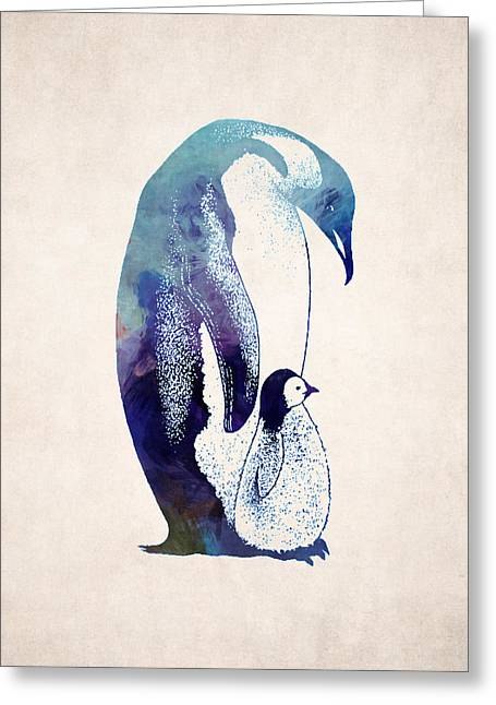 Mother And Baby Penguin Greeting Card