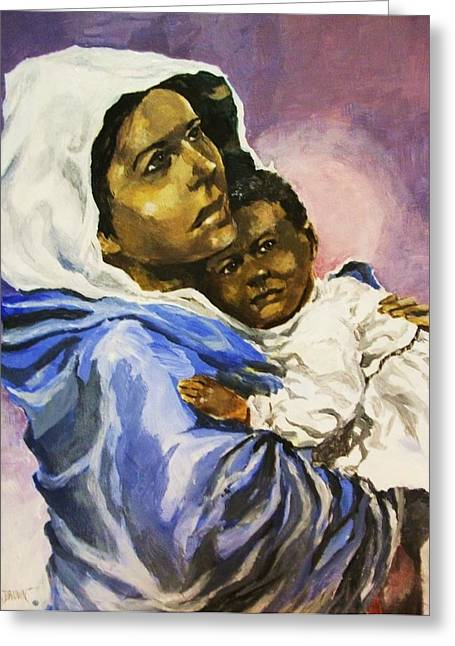 Mother And Child Greeting Card by Al Brown