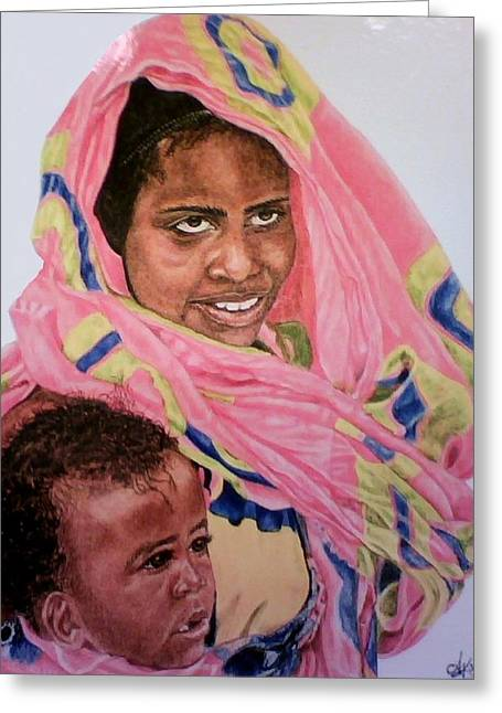 Mother And Child Greeting Card by Arron Kirkwood