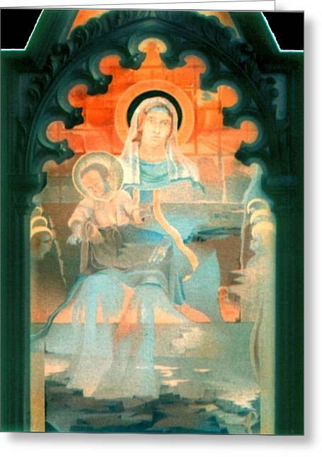 Mother And Child By Fabriano 1975 Greeting Card by Glenn Bautista