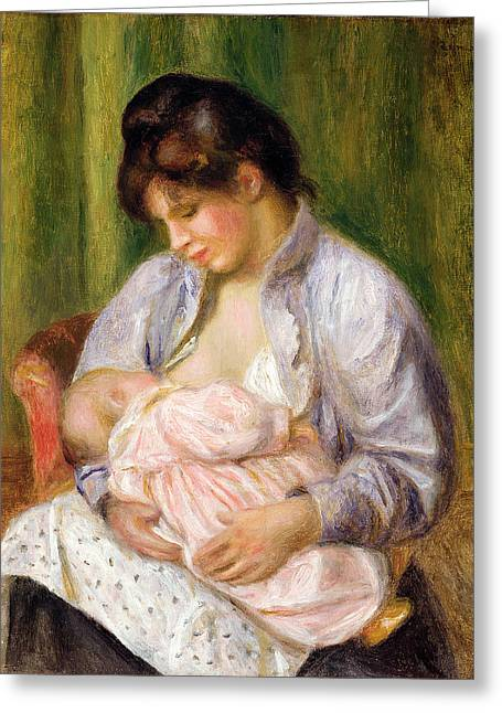 Mother And Child Greeting Card by Pierre Auguste Renoir